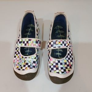 Keen Slip on Woven Checkered Mary Jane's Size 10